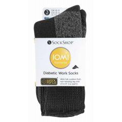 Iomi Footnurse Workforce Diabetic Socks-M 6-11 Black - 3 Pairs