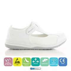 Oxypas Lightweight Antistatic Esd Nurses Shoe-Remy White