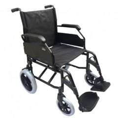 "AL ESSA Aluminum Light Weight Wheelchair -19"" With 12"" Solid Spoke Rear Wheel #Yk9064-Clr-Black"