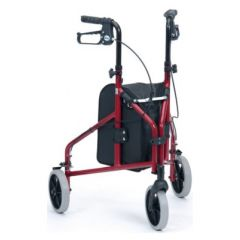 DRIVE 3 Wheeled Walker Complete With Bag & Basket - Red Color - Tw010R-2-48