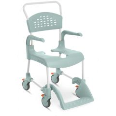 ETAC Shower/Toilet Chair Clean -55 Cm Lockable Wheels Lagoon Green (80229211) Including Pan And Lid With Handle Grey (80209255) Pan Holder Grey (80209257) Lid For Seat Clean Black (80209247).