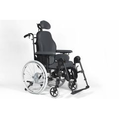 "Sunrise - Breezy Wheelchair Breezy Premium 46 Cm Recliner With 24"" Solid Rear Wheel, Anatomic Seat, Anatomic Back, Padded Head Rest & Elevating Leg Rest-Grey # 08100101 46"