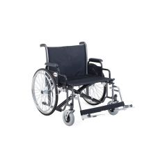 "MERITS Heavy Duty Steel Wheelchair-Bariatric(Dual Axle)-22""(56Cm) Sparkle Black With Detachable Arm & Foot Rest # N473"